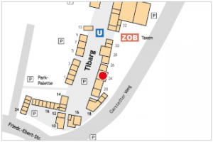 Karte des Tibarg mit Lagekennzeichnung von Dr. med. Wolf Vater