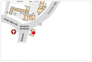 Auf dem Lageplan ist der Standort des Tortenateliers Viktoria mit einem roten Kreis gekennzeichnet.