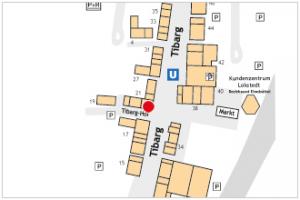 Karte des Tibarg mit Lagekennzeichnung der Podologischen Praxis am Tibarg