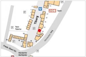 Karte der Einkaufsstraße Tibarg in Hamburg Niendorf mit Lage der Zahnarztpraxis von Dr. Sönke Ehren und Andrea Hornhardt