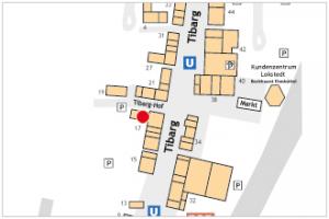 Karte des Tibarg mit Lagekennzeichnung der Praxis von Dr. Thomas Horstmann