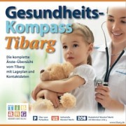 """Das Bild zeigt eine Ärztin mit einem Kind mit der Aufschrift """"Gesundheits-Kompass Tibarg"""""""